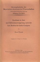 Konfessio in Jure und Defensionsweigerung nach der Lex Rubria de Gallia Cisalpina.