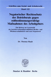 Negatorischer Rechtsschutz des Betriebsrats gegen mitbestimmungswidrige Maßnahmen des Arbeitgebers. - Raab, Thomas